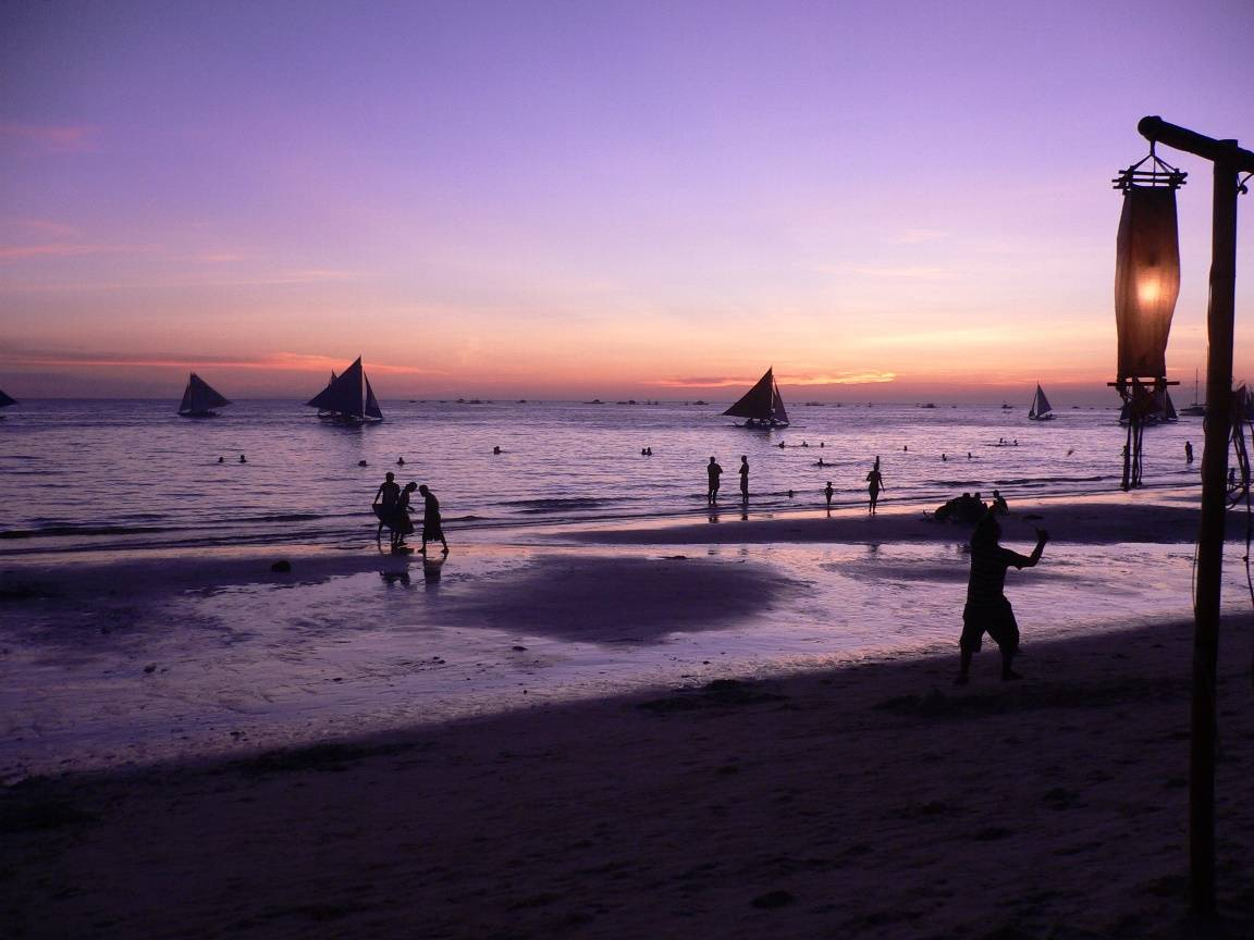 Evening view from the beach at Boracay