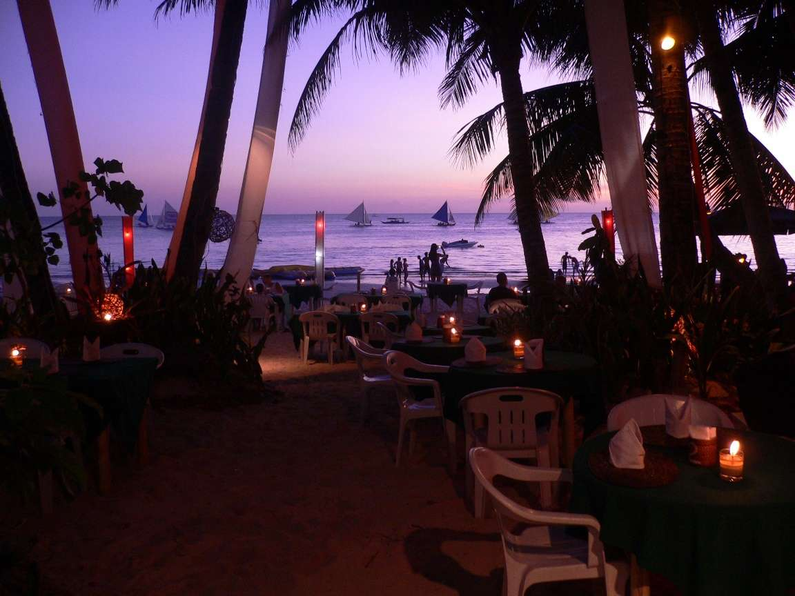 Evening dinner on the beach at Boracay