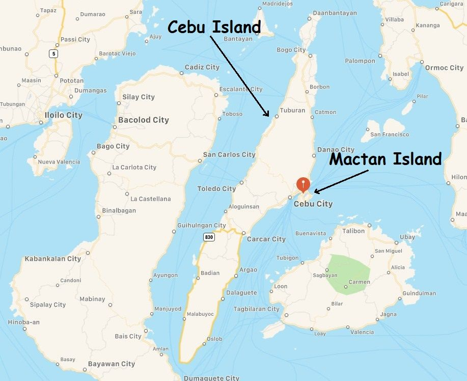 Map of Cebu and Mactan Island