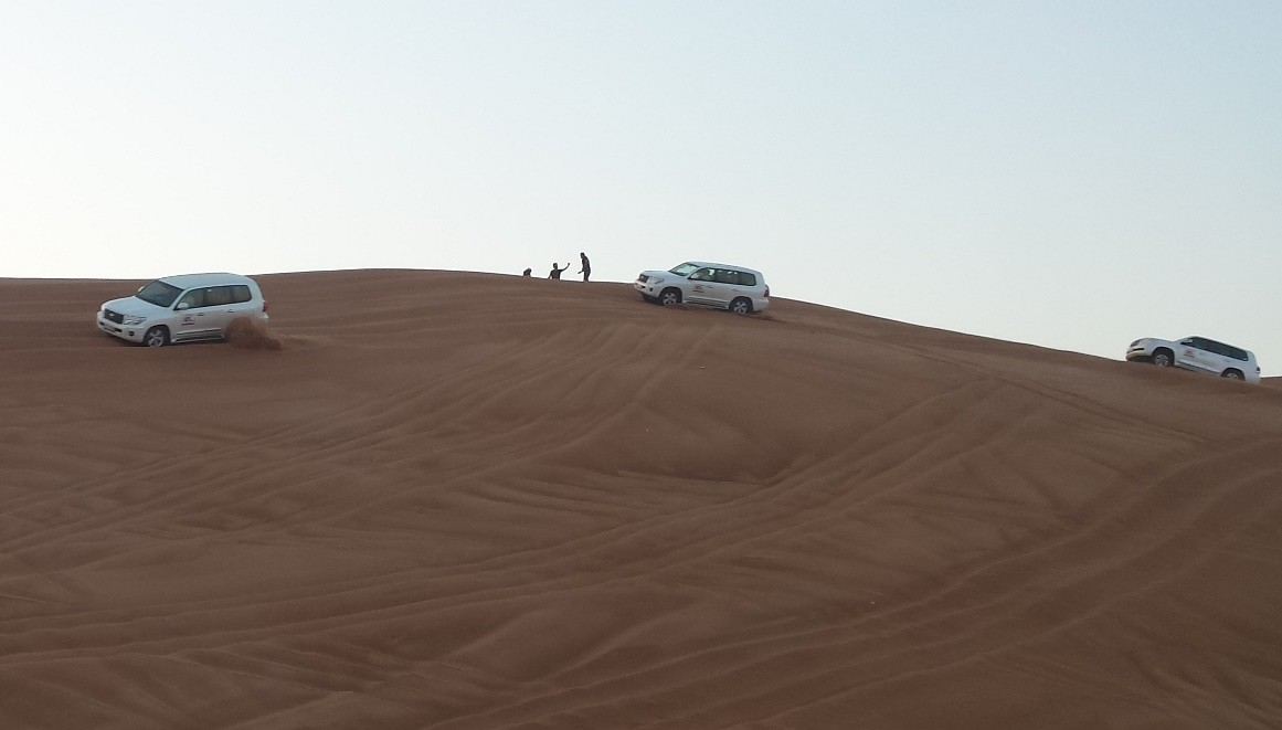 Setting off across the dunes in our 4 x 4