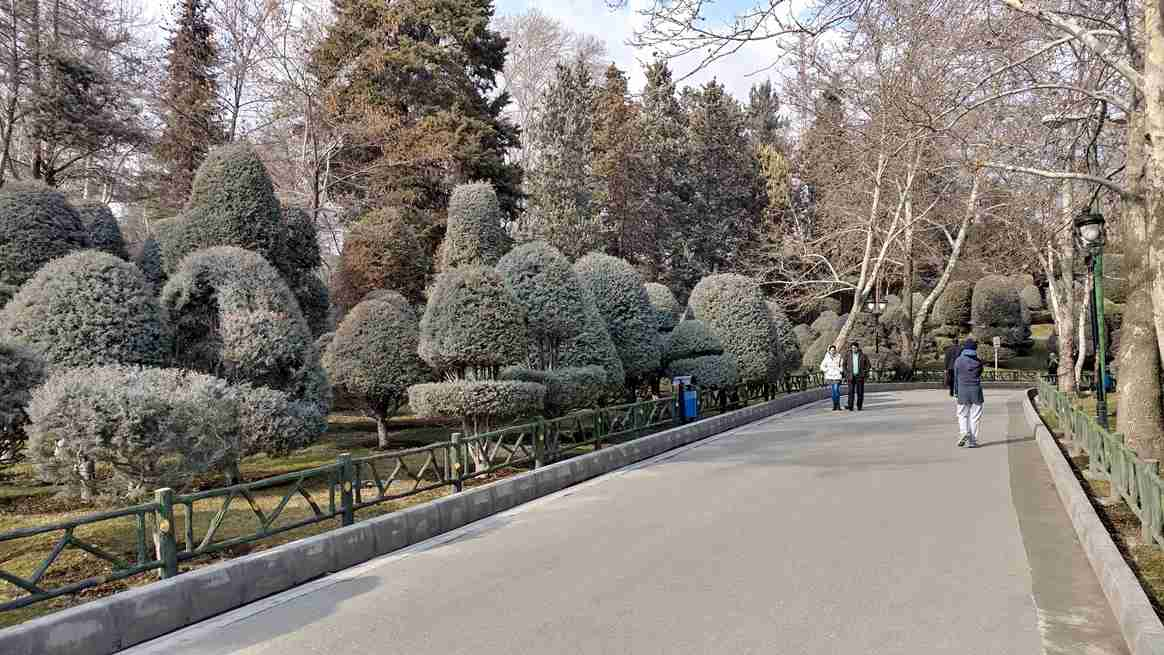 A closer look at the sculpted bushes in Mellat Park