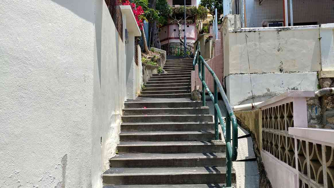 Steps up towards a rest area