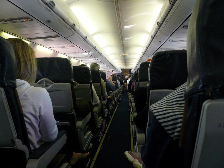 Inside and aircraft during flight