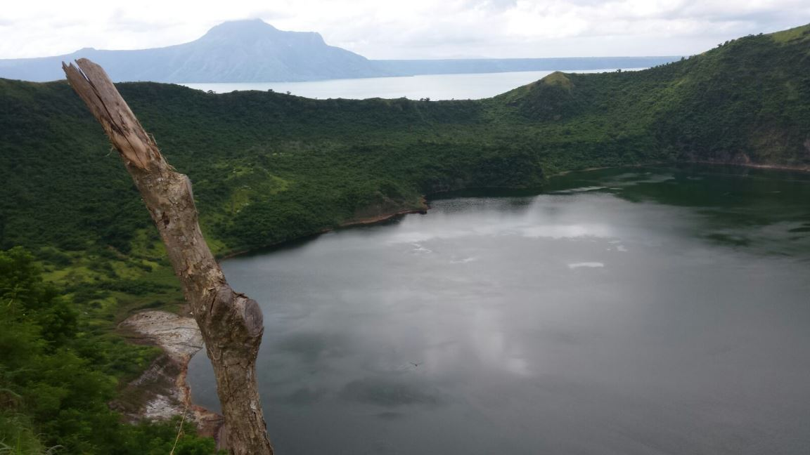 The lake in the crater of the Taal volcano