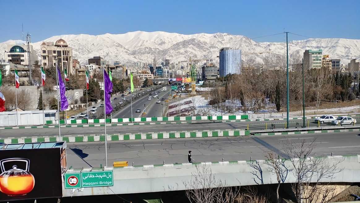 The Alborz Mountains, Tehran, from the Haqqani Bridge